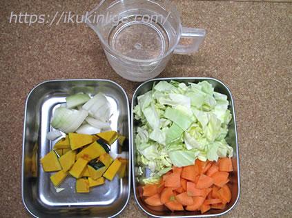 野菜スープの材料です。